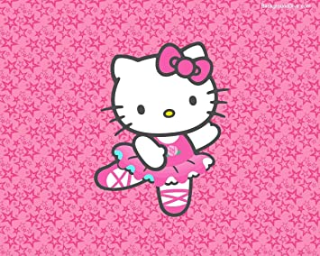 2bee31c42 Hello Kitty Ballerina Dancing on Pink Starry Background Edible Cake Topper  Image ABPID00138 - 1/