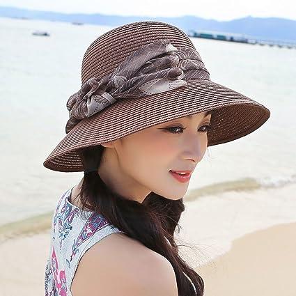 5552bb2d19027 WQLQL Sombrero de paja de sol de moda Sombrero solar de verano Sombrero  protector de sol ...