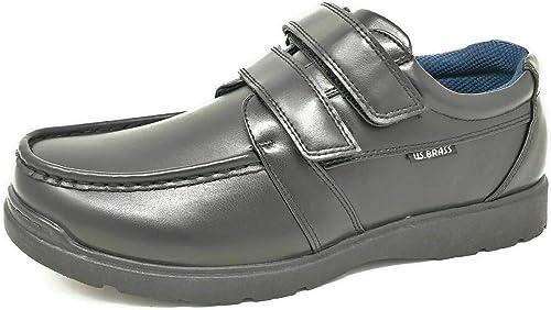 Us Brass Boys Hard Wearing Back To School Touch Fastening Black Formal Shoes Siz