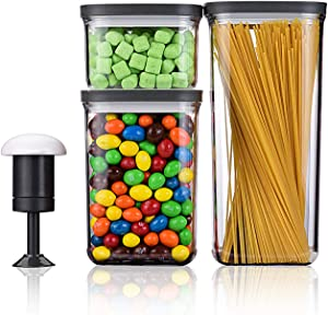 KALAR 3 Piece Vacuum Seal Food Storage Containers Set, Airtight Food Storage Canister Set with Vacuum Pump, for Kitchen Pantry Organization