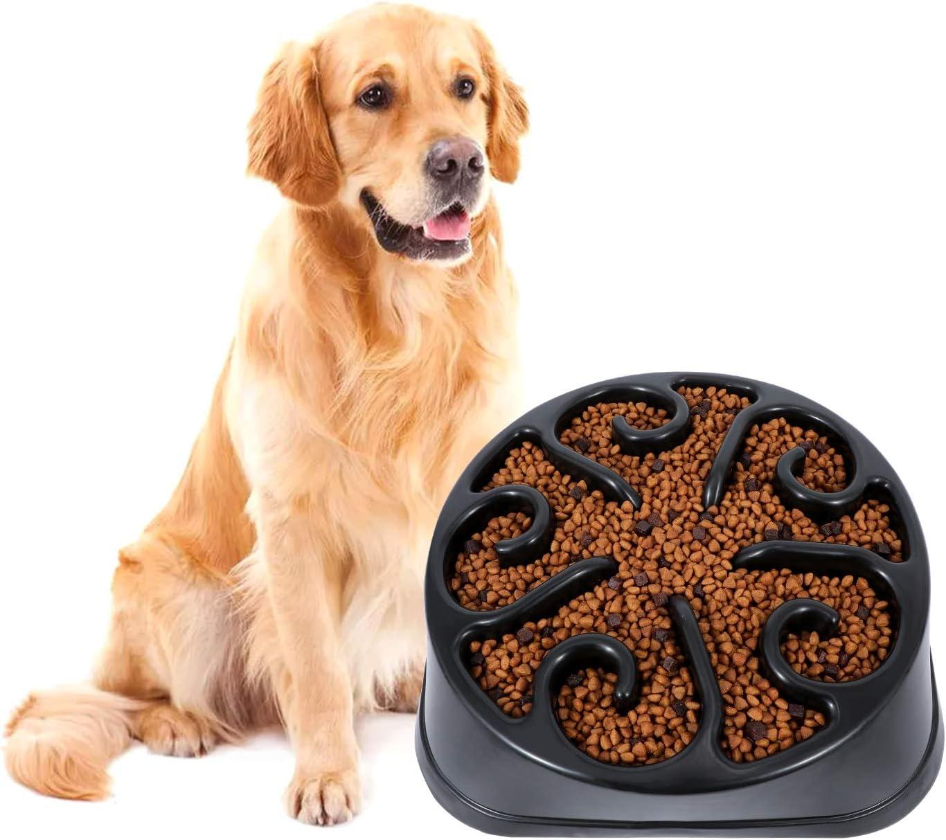 KASBAH Slow Feeder Dog Bowl for Large Dogs, Anti-Gulping Maze Dog Food Bowl Bloat Stop Puzzle Bowl Non-Toxic Eco Friendly Anti-Choke Large Dog Bowls, One Size, E-Black