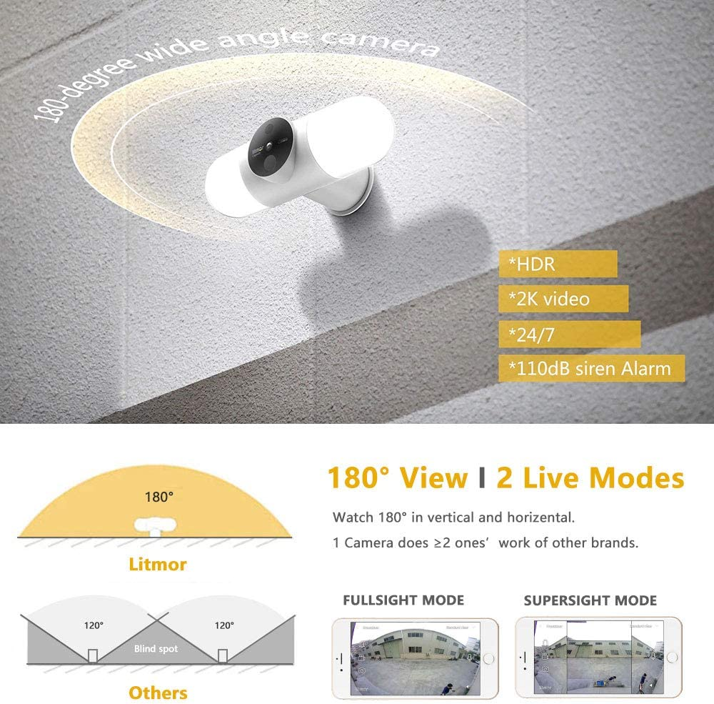 2K Hd Litmor Floodlight Camera Smart Outdoor Motion Sensor Light With Camera