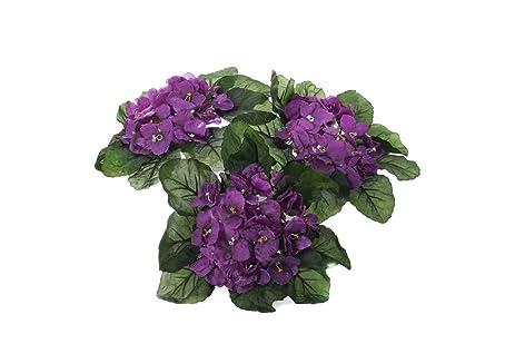 Amazon purple african violet artificial silk flower bushes 3 purple african violet artificial silk flower bushes 3 individual silk bushes mightylinksfo