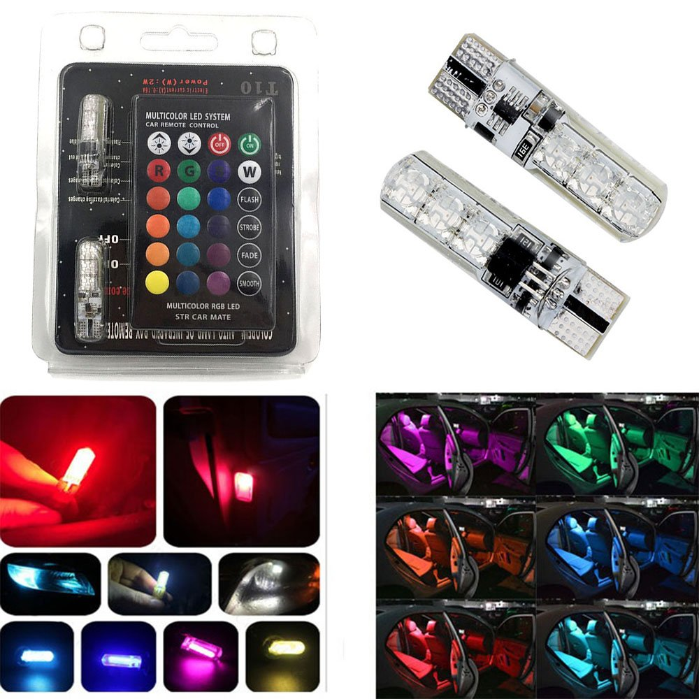 Amazenar 2 Pcs 194 168 2825 T10 Rgb Multicolored Led Fashion Lighting Controller Circuit Schematic Circuits Light Car Interior Reading Dashboard Bulbs Side Marker Lights With 16 Colors Remote Control Automotive