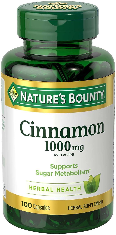 Nature's Bounty Cinnamon 1000 mg Capsules, 100 Count