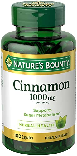 Nature s Bounty Cinnamon 1000 mg Capsules, 100 Count