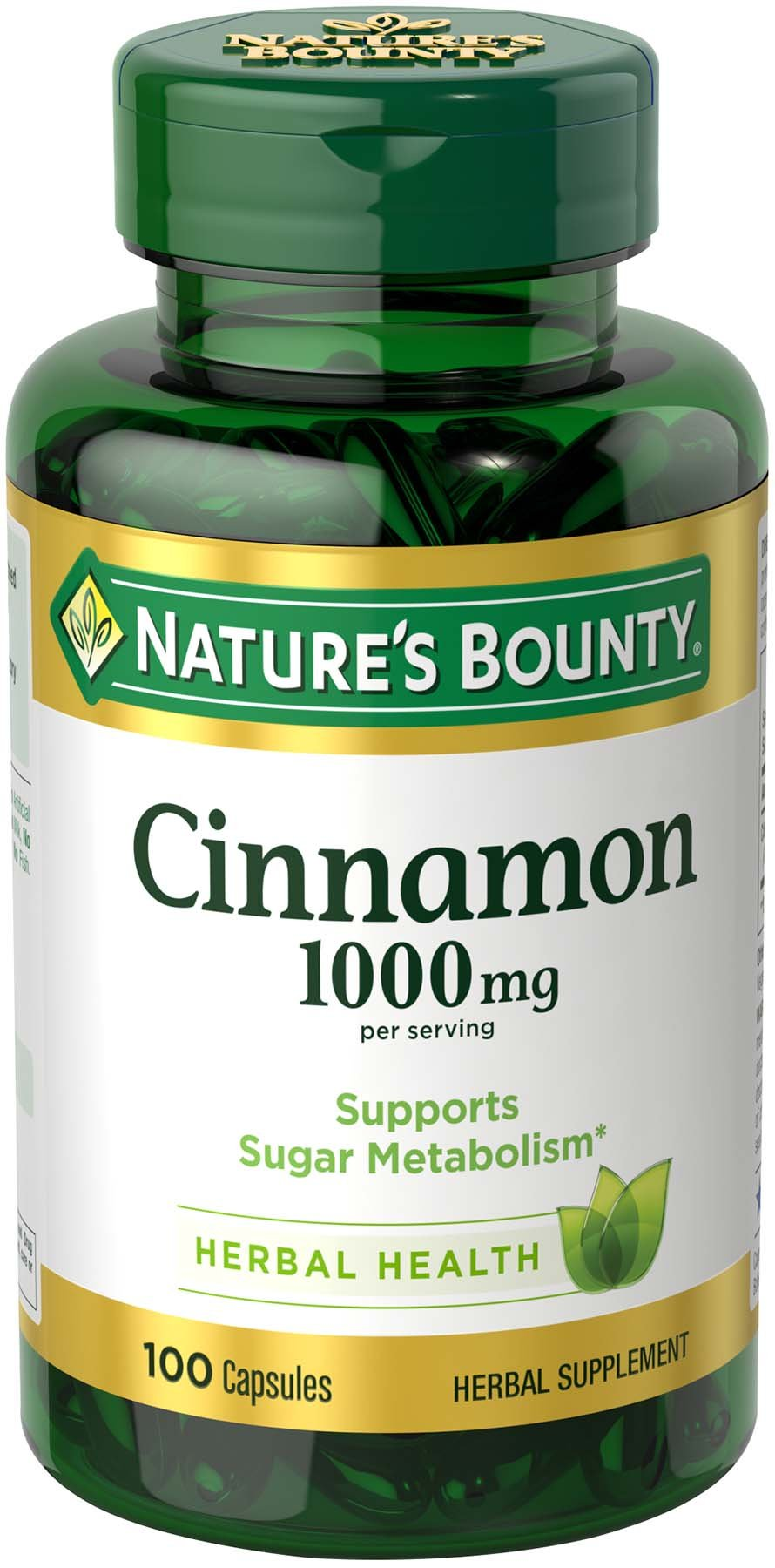 Nature's Bounty Cinnamon 1000 mg Capsules, 100 Count