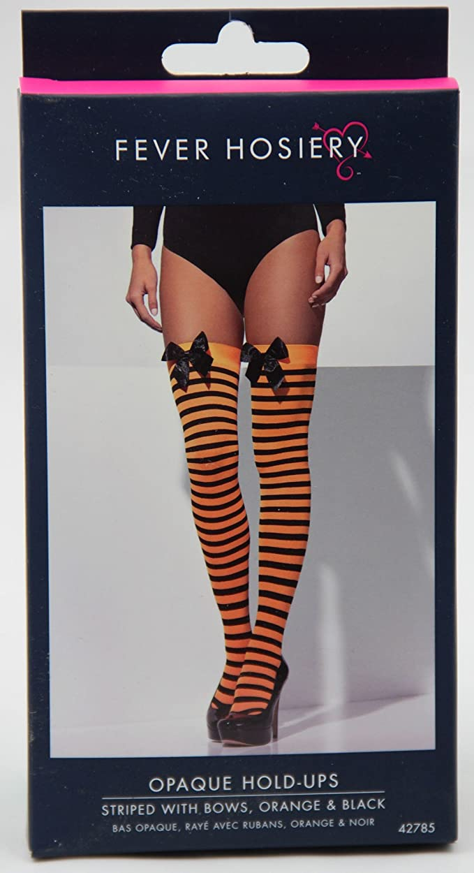 Smiffys  -  SM42785  -  Bas Rayes Orange/Noir   - Taille Unique