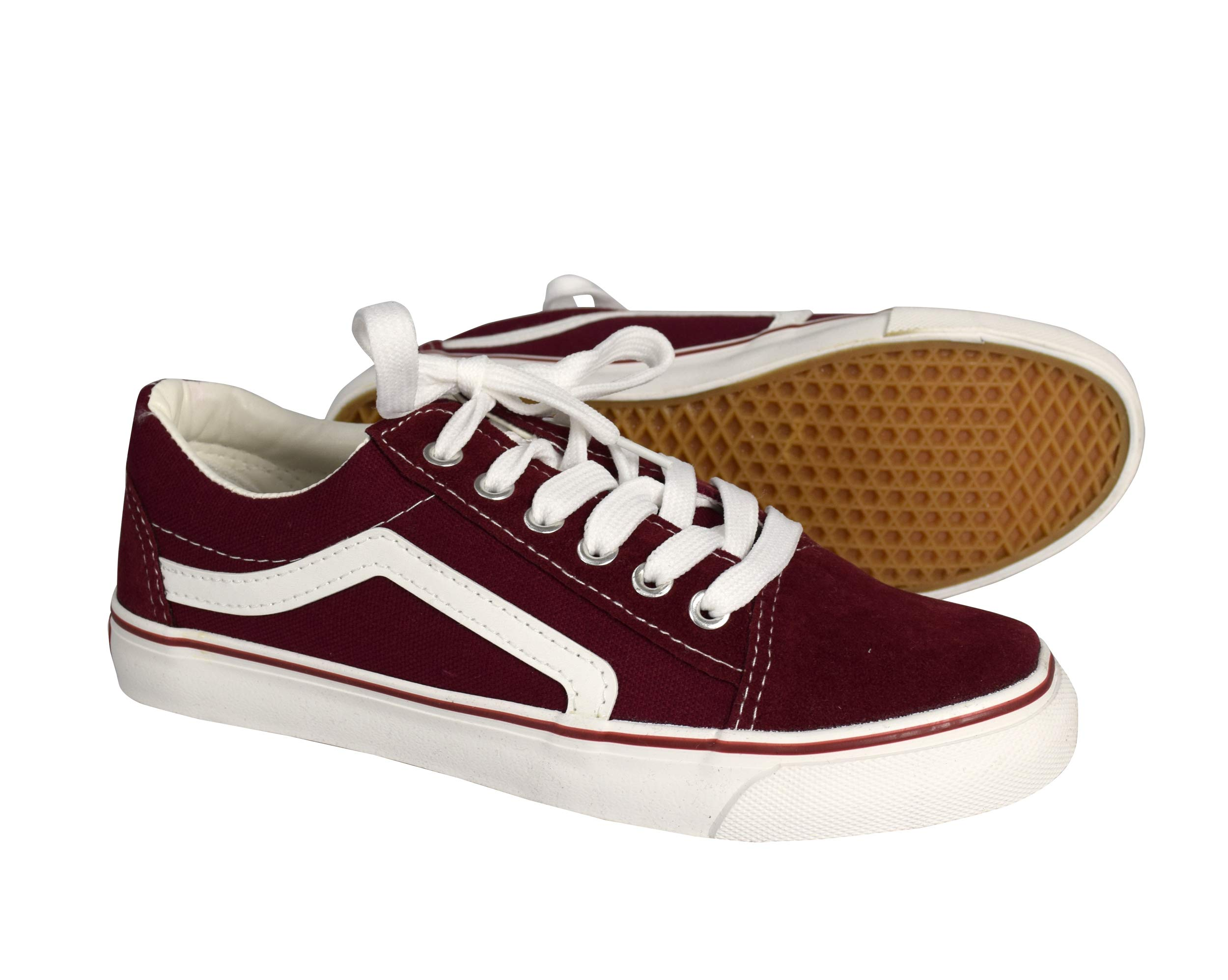 Peach Couture Old School Womens Comfortable Sneakers Skater Lace up Tennis Shoes Burgundy, 8