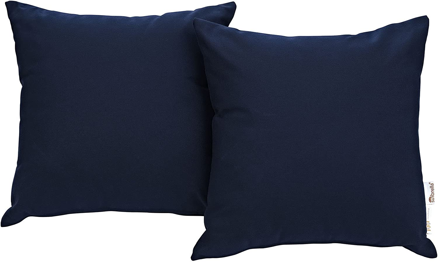 Modway Summon Outdoor Patio Two All-Weather Decor Throw Pillows Sunbrella Fabric in Navy