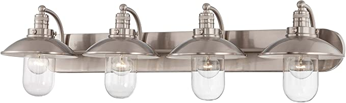 4 light bathroom vanity light bathroom fixture minka lavery 513484 downtown edison light bath vanity brushed nickel with clear glass