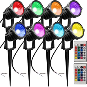 AHSELLUS Landscape Lights Color Changing RGB LED Landscape Spotlights Low Voltage Lighting 5W 12V Garden Pathway Lights with Remote Control for Indoors Outdoors Decorative(8 Pack)
