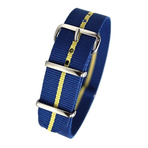 79754a353b5 Amazon.com  HDT Design N.A.T.O. Type Nylon Watch Strap Blue   Yellow ...