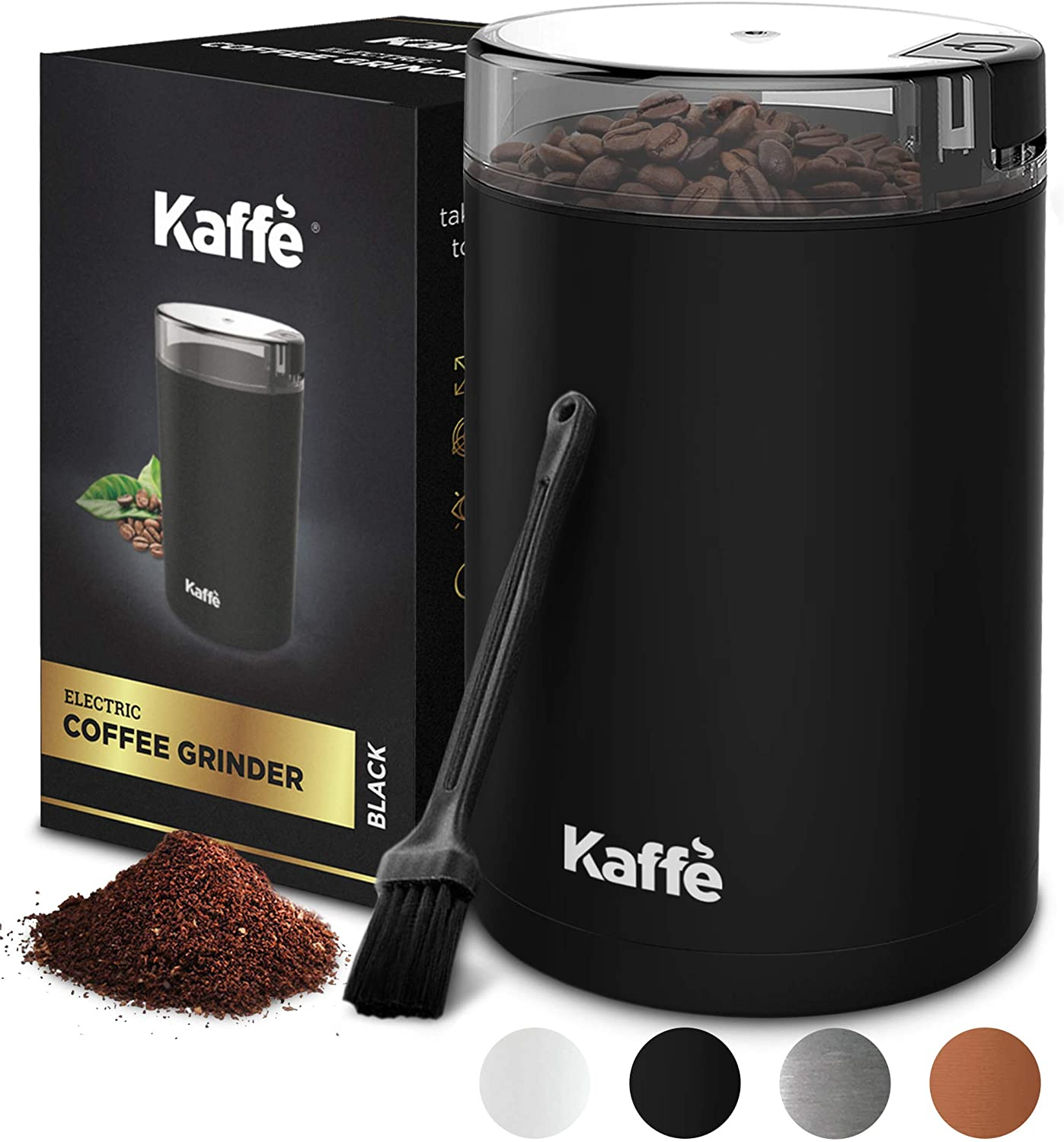 Kaffe Electric Coffee Grinder - Black - 3oz Capacity with Easy On/Off Button. Cleaning Brush Included