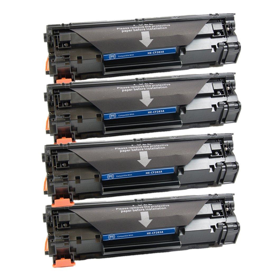 4PK PayForLess Replacement Toner Cartridges CF283a/ HP 83A for HP Laserjet Pro MFP M125a MFP M125rnw MFP M125nw MFP127fn M225rdn M201dw M201n MFP127fw M225dn M225dw Printers
