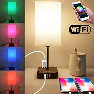 COZOO Wi-Fi Smart RGB & USB Bedside Table Lamp with 3 USB Charging Ports and 2 Outlets Power Strip,Wi-Fi LED Light Bulb Dimmable, Works with Alexa and Google Home