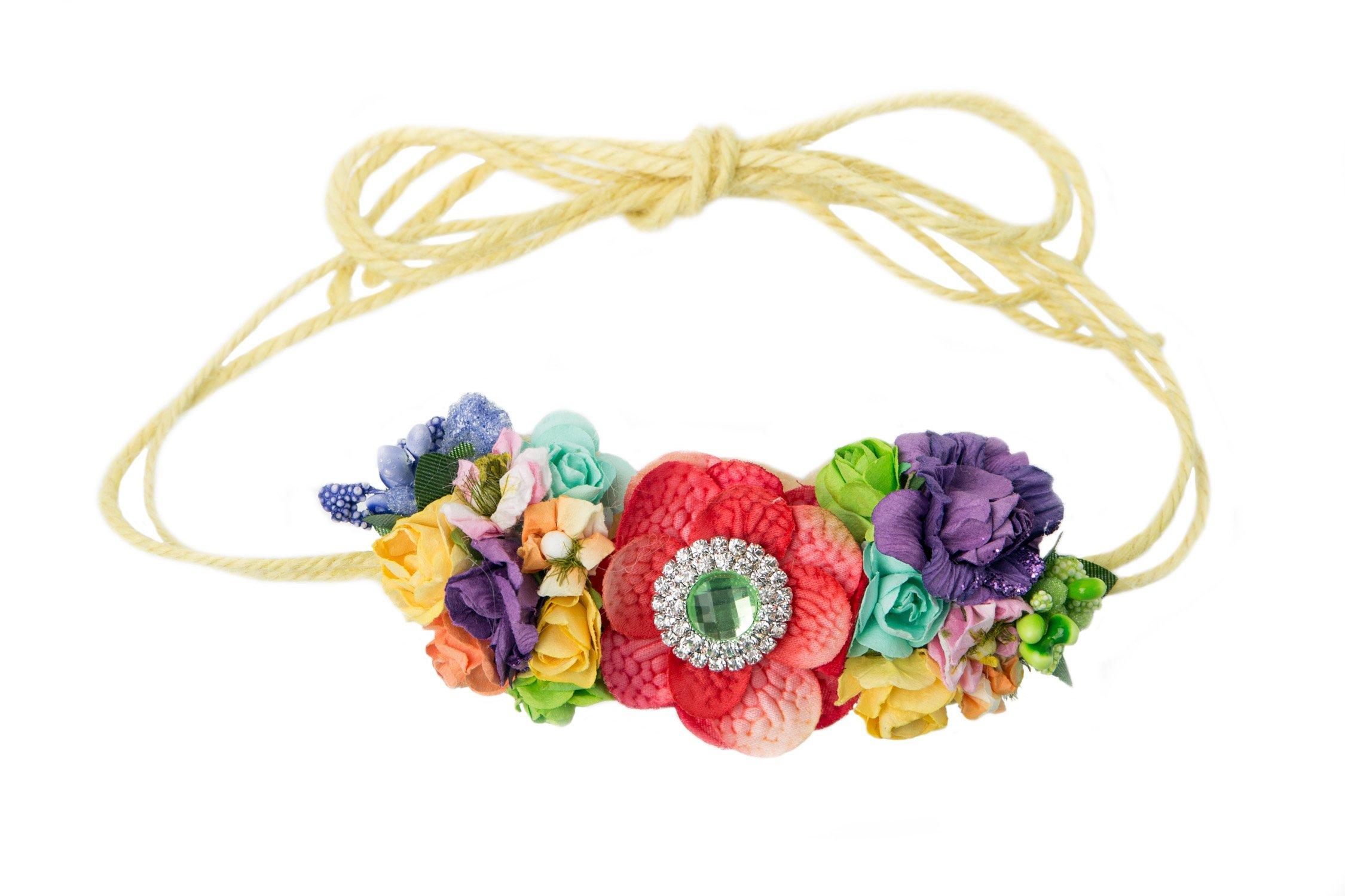 Mini Floral Headband Bohemian Style Formal Head Wear Garland One Size Fits All - Rhinestone Rainbow - 4 x 2 Inches