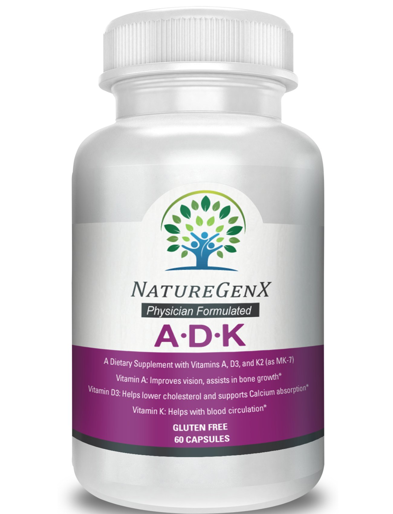 NatureGenx A.D.K - Dr. Formulated Vitamin ADK, High Potency Vitamins A 5,000 IU D3 5,000 IU K2 (as MK-7) 500mcg) Support Bone, Heart, and Immune System, Non-GMO, No Soy, 60 Capsules 2 Months Supply