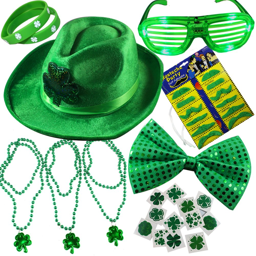 Joyin Toy 32 Pieces St. Patrick's Day Accessory Set Party Favors with St. Patrick Shamrock Fedora Hat, Beads Necklace, Mustaches, Sequin Bow, Light-up Glasses, Temporary Tattoos, and Rubber Bracelets.