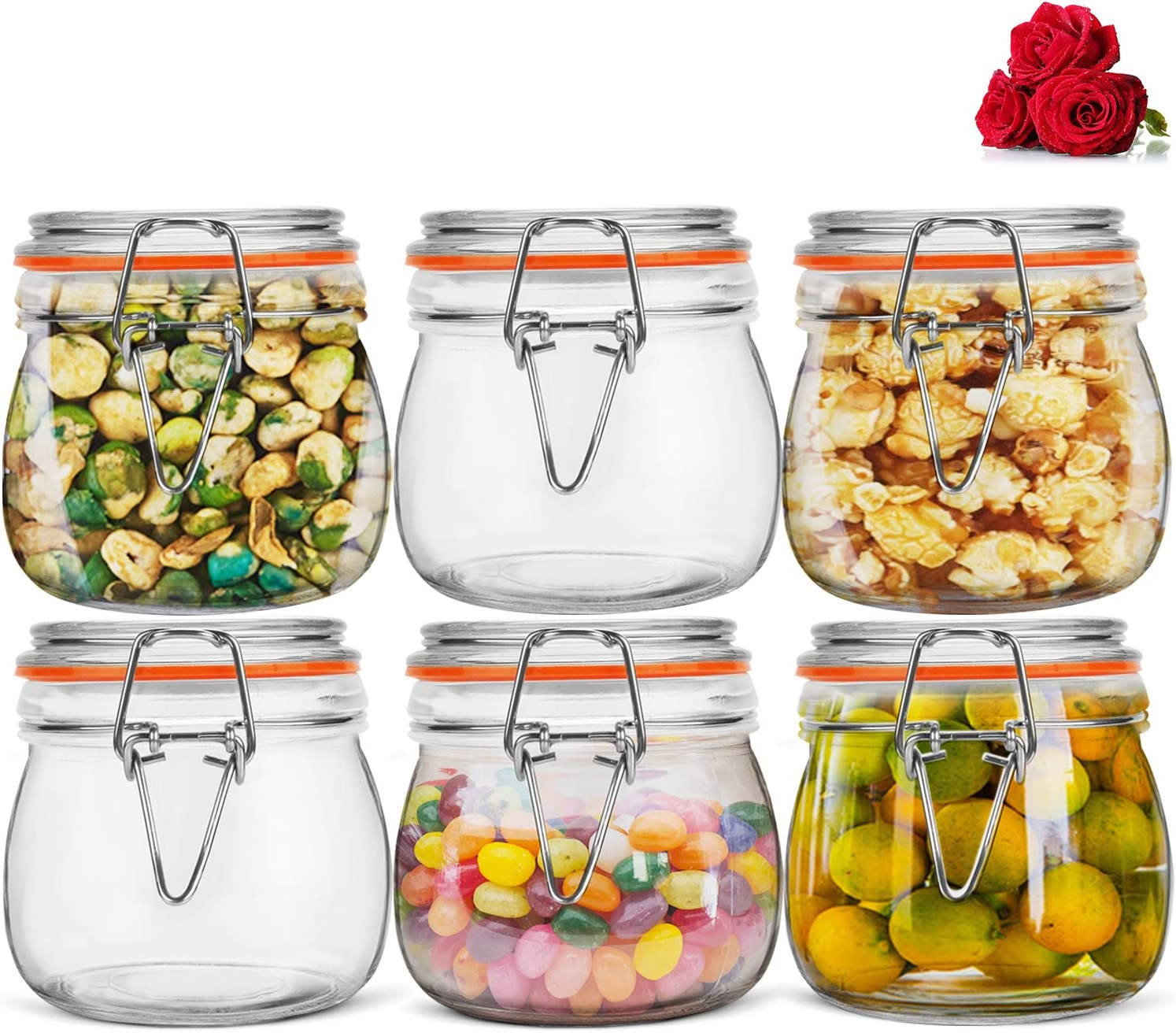 LovoIn 16oz 6 Pack Airtight Glass Canister 1 Pint Food Storage Jars with Sealed Airtight Lids for Fermenting, Preserving and Storage - Cereal, Preserves, Spice, Beans
