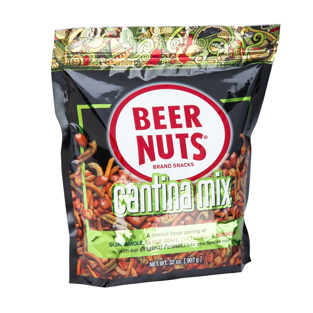 BEER NUTS Cantina Mix - 32 oz. Resealable Bag, Original Peanuts, Chili Lemon Roasted Corn, Black Bean Sticks, Guacamole Bites