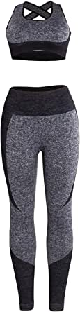 VWIWV Women's Workout Suit Set Yoga Outfits Seamless Sports Bra and Leggings 2 Piece Set Exercise Outfits Tracksuit