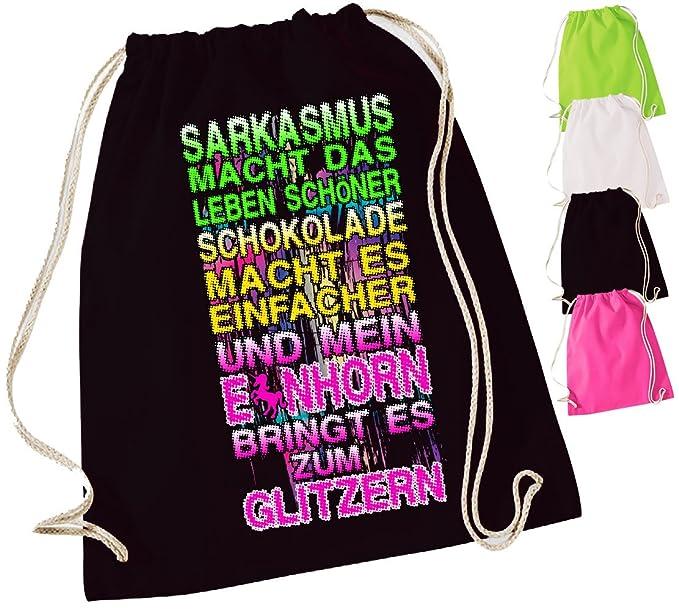 Bolsa con frases o diseño de animales, elegible | Negro | Mochila | yute Bolsa | Bolsa de deporte | Mochila Bolsa, color 82b Faultier, tamaño 37x46,5cm: ...