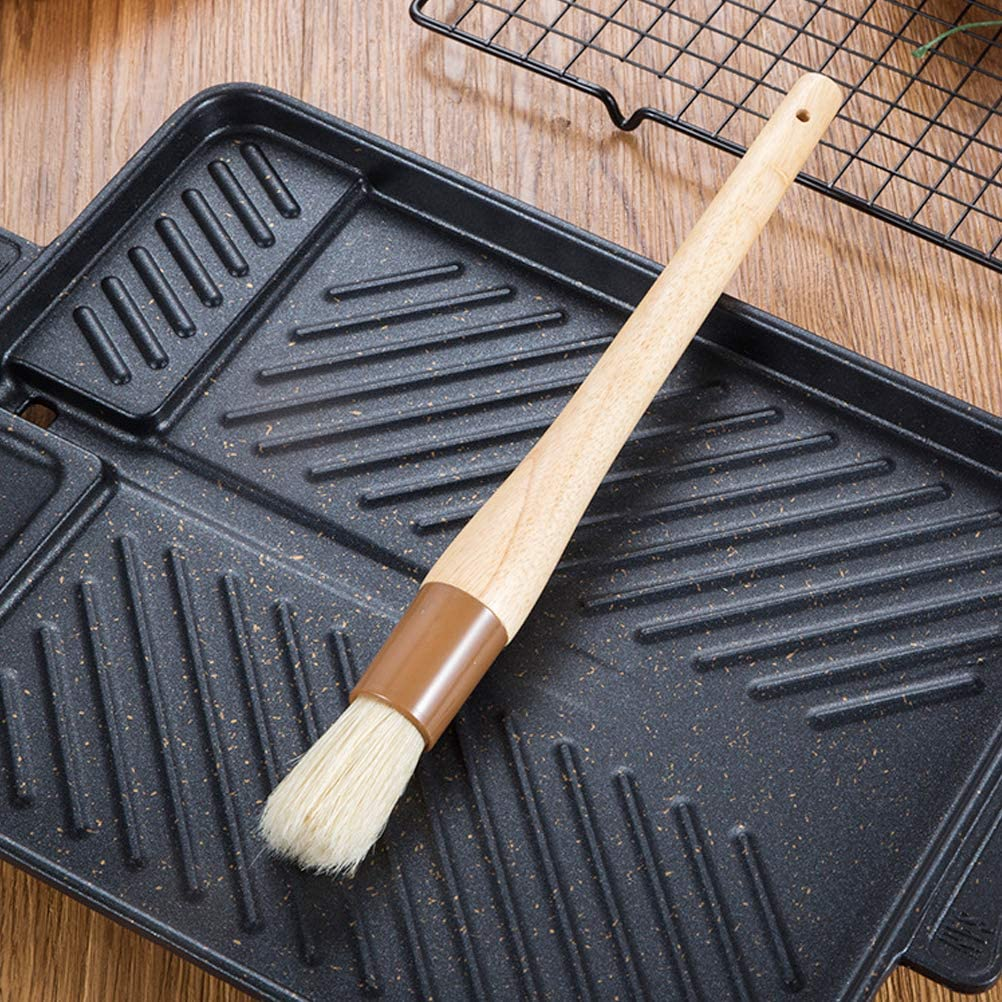 Egg Wash or Marinade to Pastries Restaurant-Grade Boar Hair Pastry and Basting Brush Ultra-Fine Hardwood Flat Brushes for BBQ Spreading Butter Dessert Bread Dough or Meat
