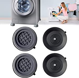 4PCS Shock and Noise Cancelling Washing Machine Support,Anti Slip Anti Vibration and Noise reducing Rubber Washing Machine Feet Pads,Washer And Dryer Anti-Vibration Pads, Washing Machine Stabilizer