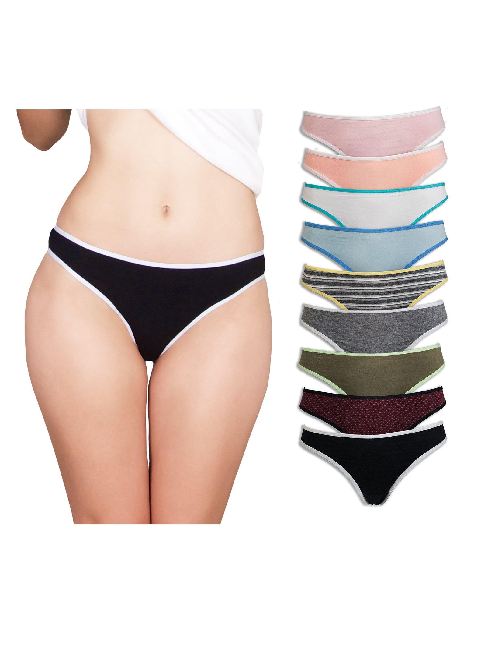 Emprella Thongs for Women, 7 Pack Cotton Underwear Ladies Thong Panties Womens Seamless