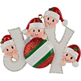 JOY Family of 4 Personalized Ornaments