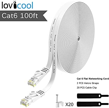 Cat6 Ethernet Patch Cable White 100 Feet