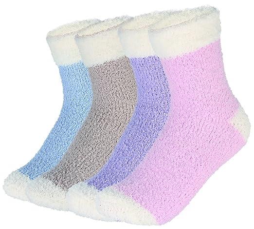 EOZY 4/12 Pares Calcetines de Invierno Lana Térmico para Mujer Dormir Hogar: Amazon.es: Ropa y accesorios