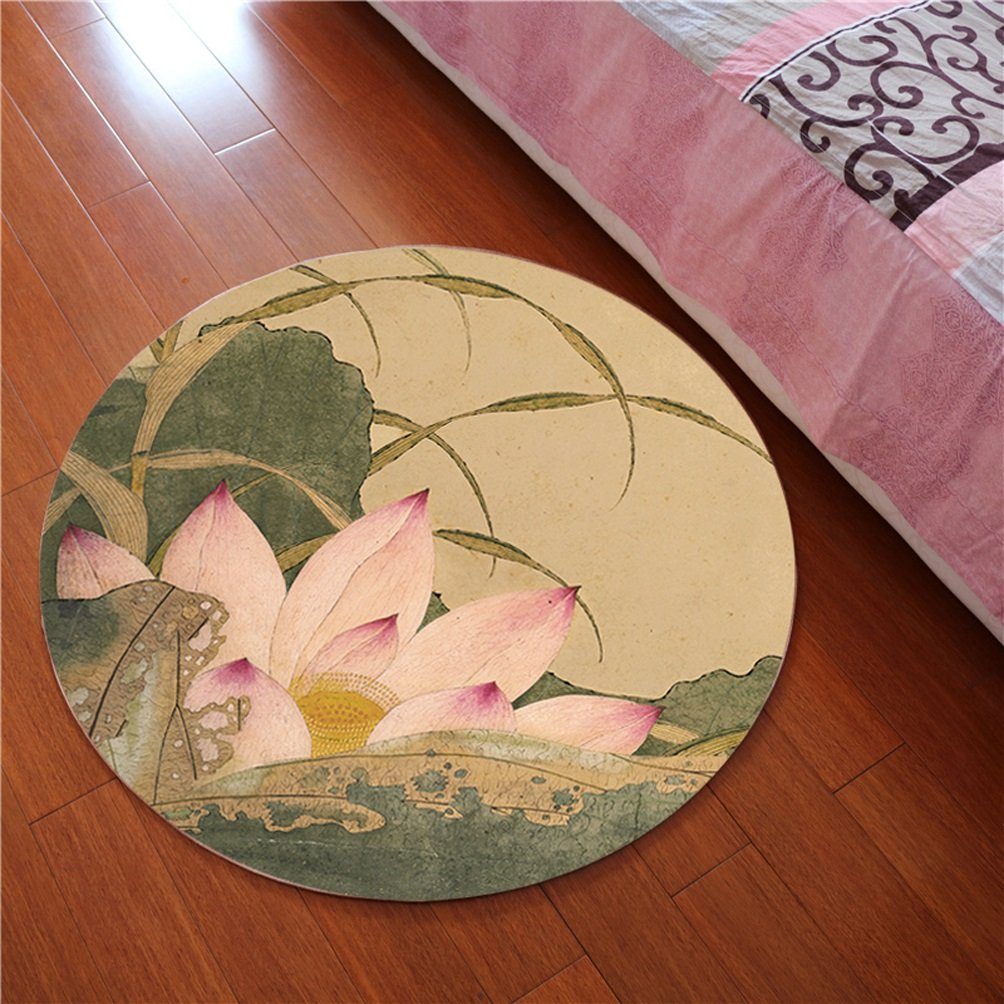 WAN SAN QIAN- 3D Round Carpet Chinese Office Carpet Basket Swivel Chair Carpet Mats Children Bedroom Lotus Carpet Rug ( Color : D , Size : 120x120cm )