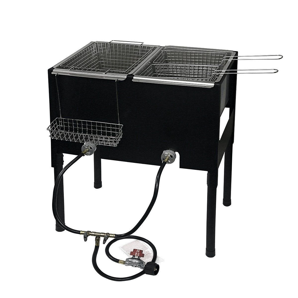 Propane LPG Camping Stove 2 Burner basket Gas Double Deep Fryer Cooker Outdoor
