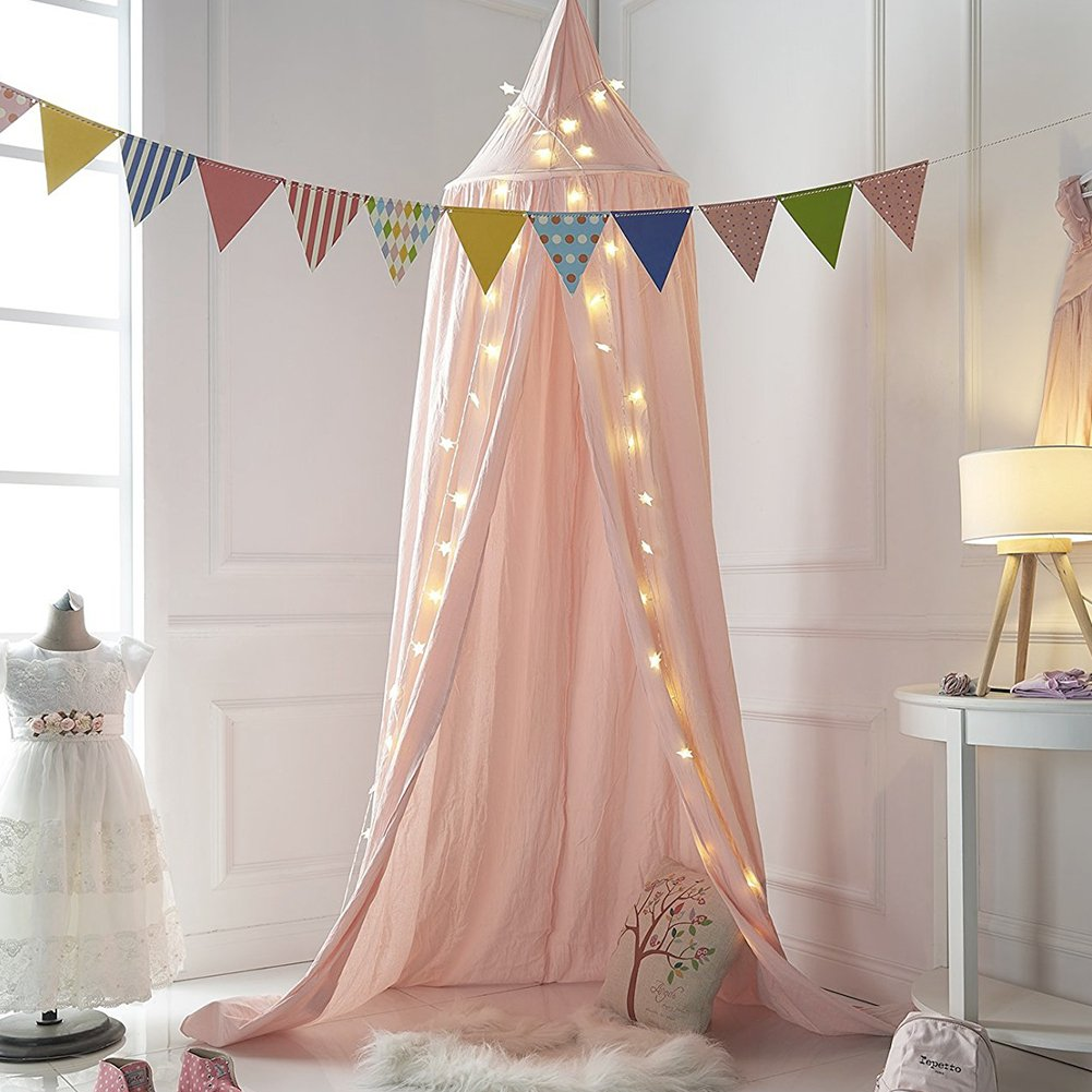 Premium Mosquito Net, Dome Princess Bed Canopy Cotton Cloth Kids Play Tent Childrens Room Decorate Baby Kids Reading Play Indoor Games House Height 240cm/94.5in (Pink) Zabring