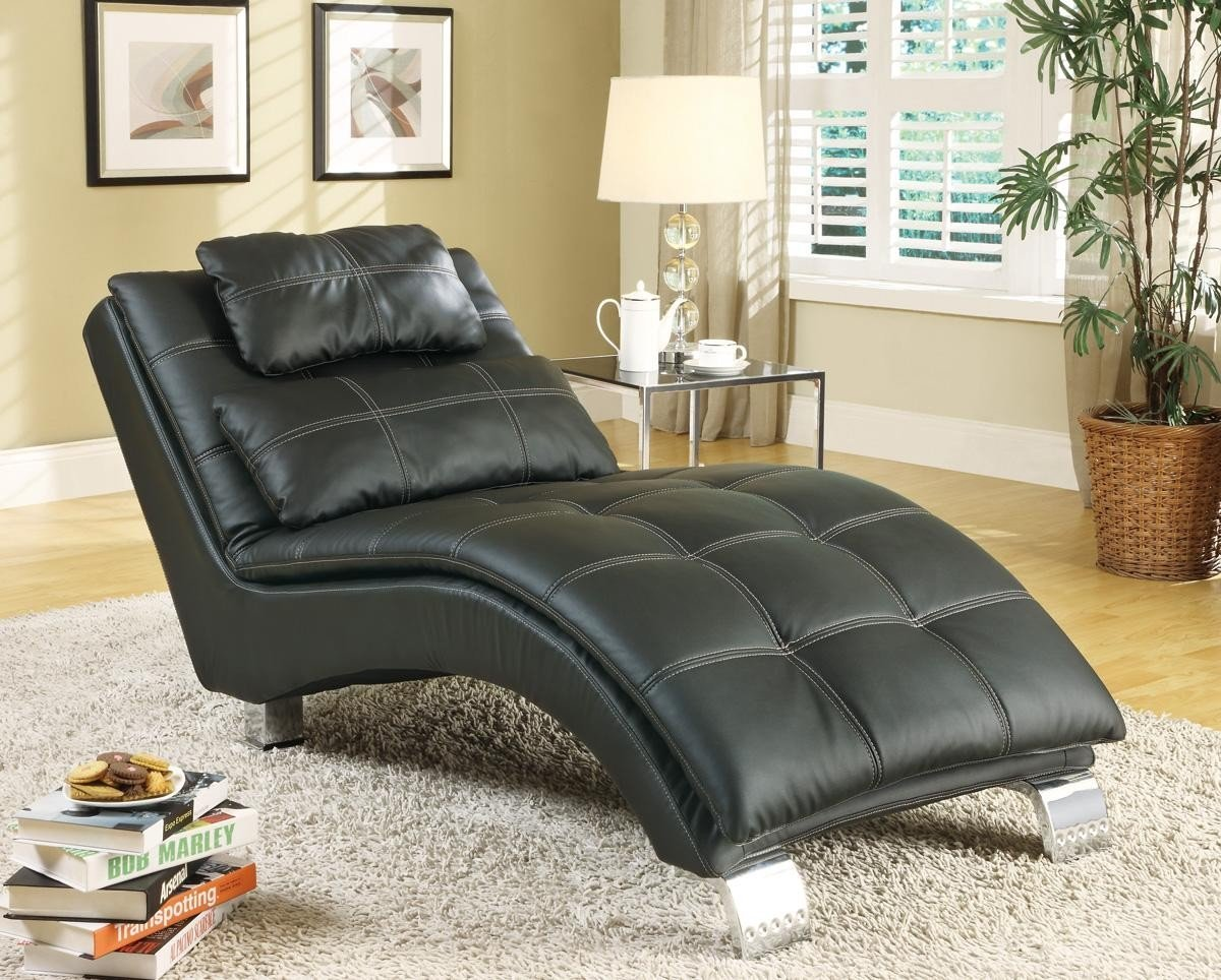1PerfectChoice Dilleston Collection Black Upholstered Chaise with Pillow-Top Seat