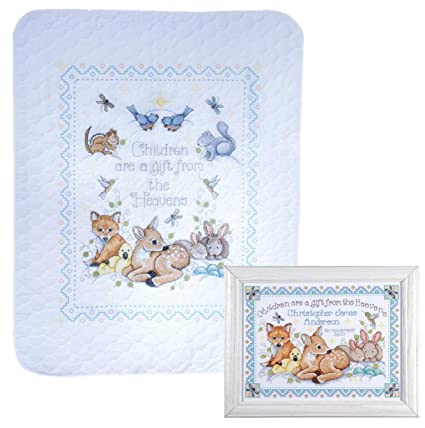 a2948df6f Design Works - Nursery Decor Cross Stitch - Gift from Heaven Woodland  Animals - 2 Kits: Baby Quilt and Birth Announcement with 2 Gift Cards