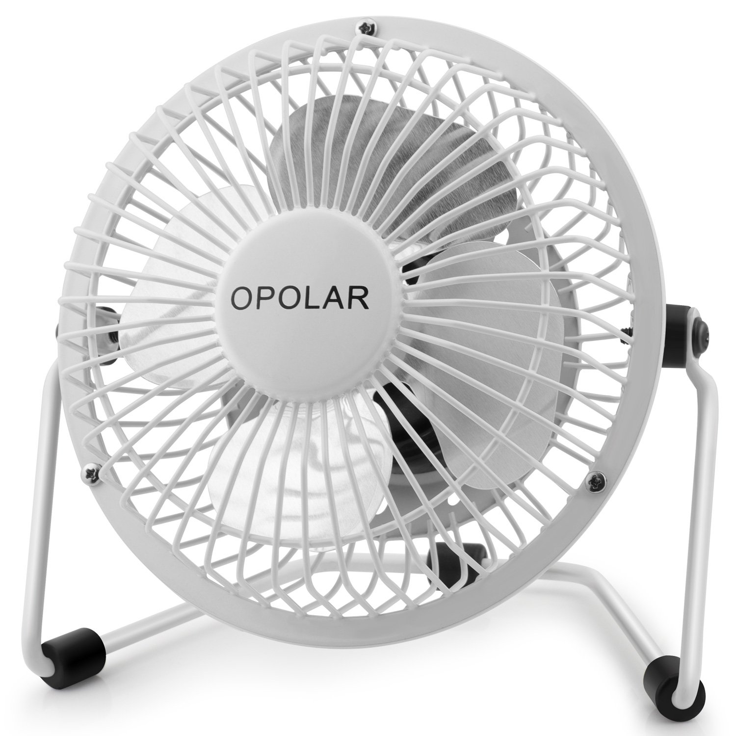 OPOLAR Mini USB Desk Fan, Portable Super Quiet, Metal Design, 4 Inch Cooling Fan for Home, Office, White