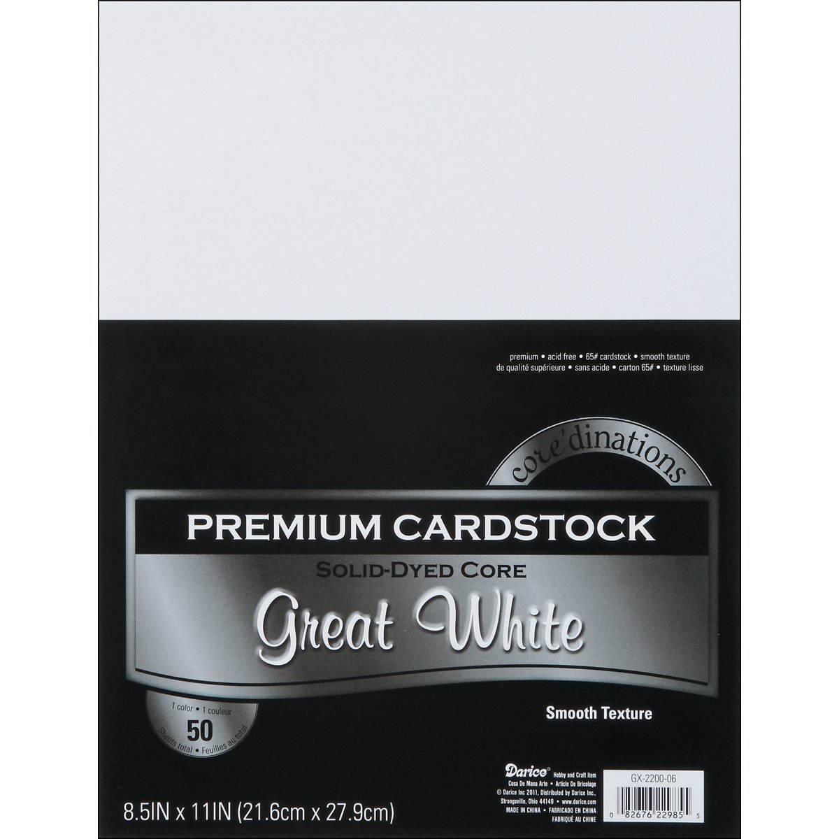 Darice GX-2200-06 50-Piece Card Stock Paper, 8.5 by 11-Inch, White