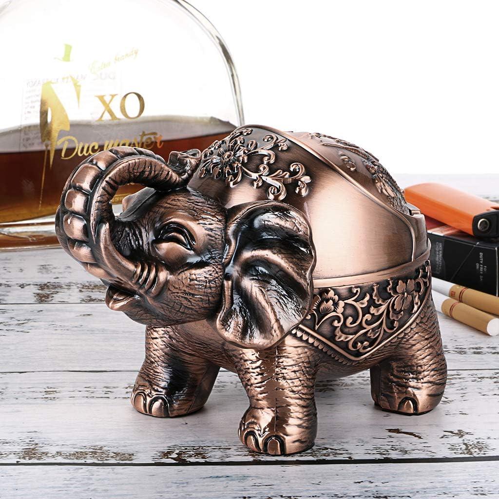 BSTKEY Cenicero vintage resistente al viento con tapas decoraci/ón retro de oficina Bronce rojo. dise/ño de elefante retro para uso en interiores y exteriores