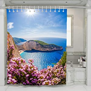 BEISISS Beach Shower Curtain Navagio Beach with Shipwreck On Zakynthos Island in Greece Perfect for Bathroom Decor with Hooks,72Wx72L