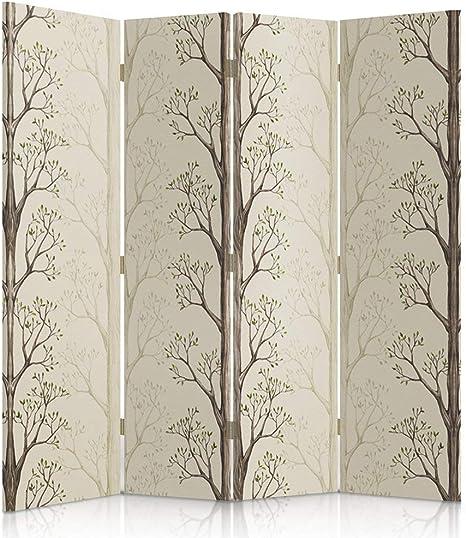 Feeby Frames - Biombo Decorativo para ambientes, de Doble Cara, 360°, 4 Paneles (145 x 180 cm), Color Beige, marrón y Verde: Amazon.es: Hogar