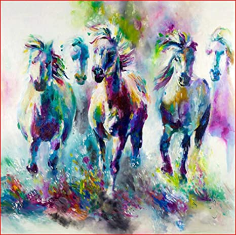 Wild Horse Colorful Paint By Numbers Kits DIY Number Canvas Painting Hand