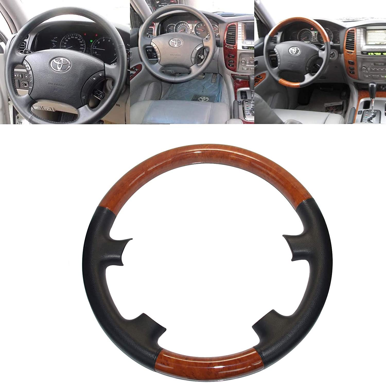Amazon.com: Pursuestar Black Leather Brown Wood Steering Wheel Cover Decor  Protector Work with 2003 to 2007 Land Cruiser LX470 GX470 4700 Prado  4Runner ...