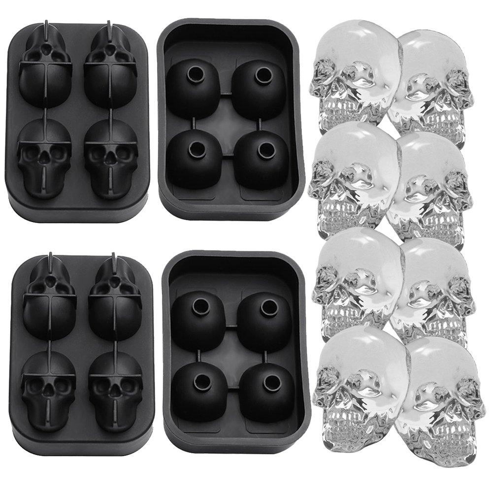 GG MALL 3D Skull Silicone Ice Cube Mold Tray, BPA free, Makes Four Vivid Skulls, Ice Ball Cube Maker, Black
