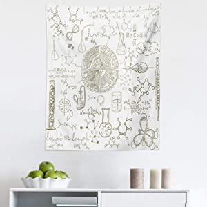 "Lunarable Science Tapestry, Science Theme Hand Drawn Style Chemistry Laboratory School Classroom Illustration, Fabric Wall Hanging Decor for Bedroom Living Room Dorm, 23"" X 28"", White Umber"