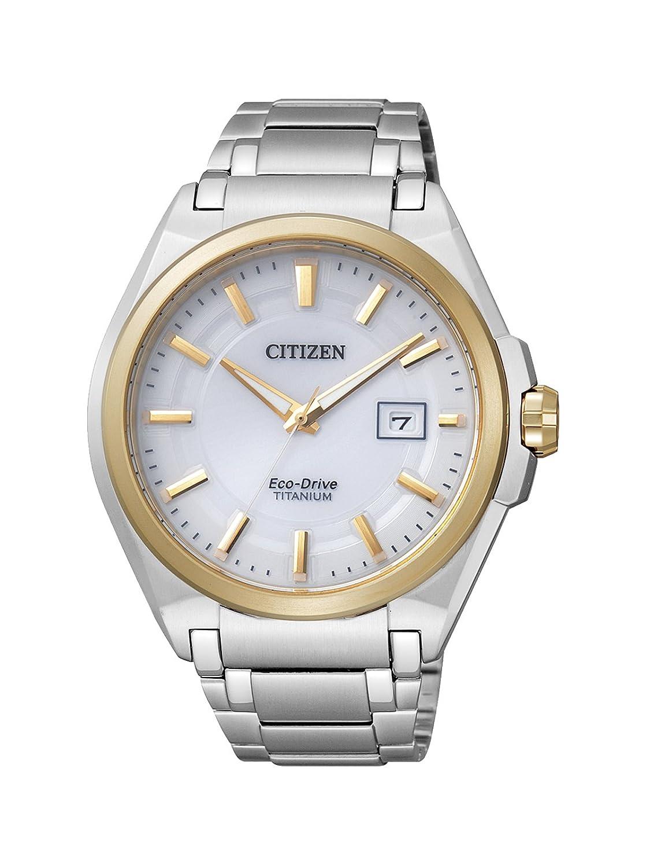 Citizen Super Titanium BM6935-53A - Reloj analógico de Cuarzo para Hombre, Correa de Titanio Color Plateado