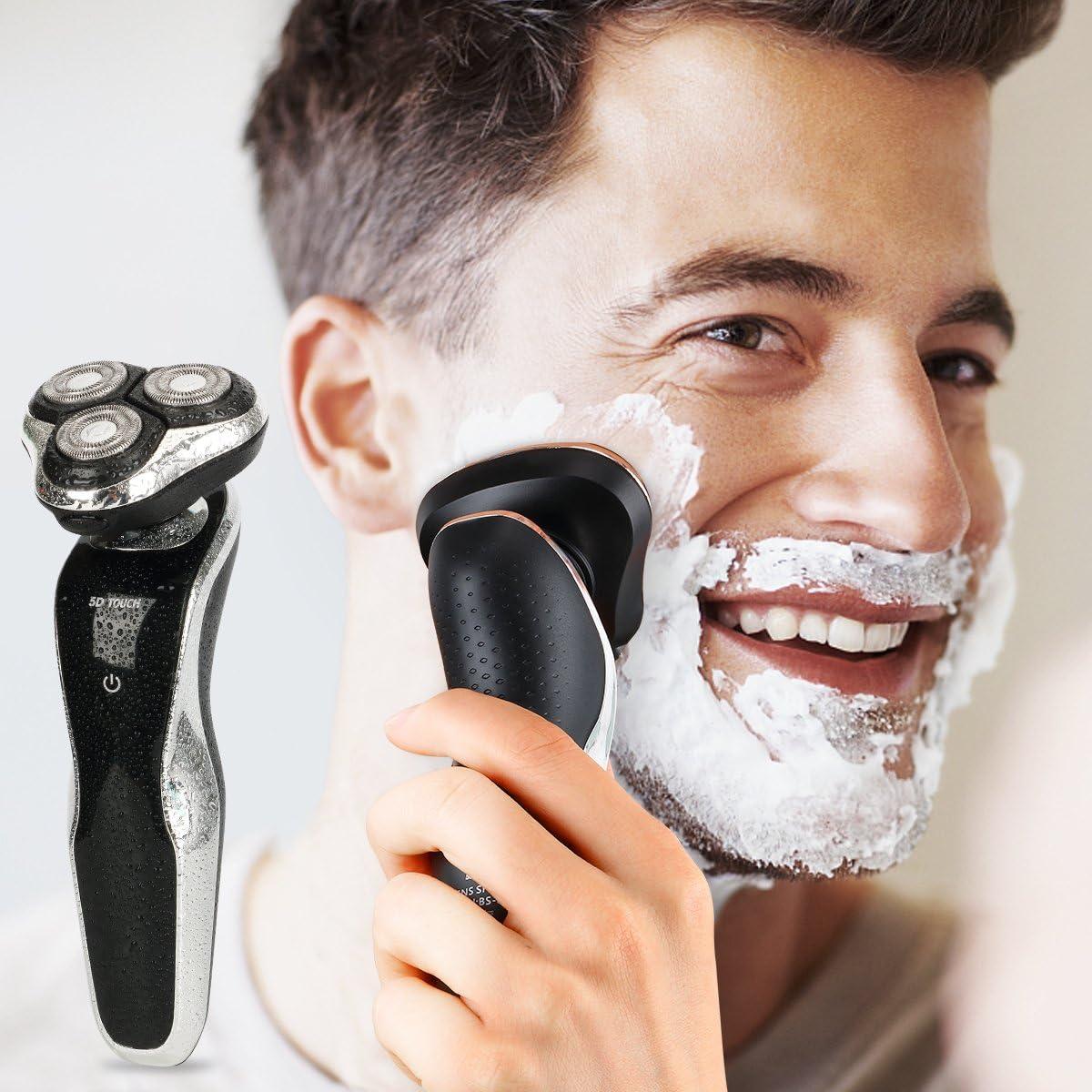 Máquina de afeitar rotatoria eléctrica para los hombres, el mejor 4 en 1 máquina de afeitar a prueba de agua sin cuerda, el pelo de la nariz y el oído y las