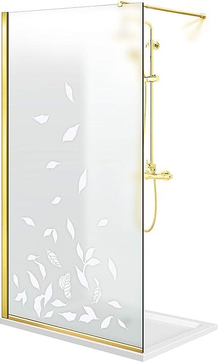 Modern Glass Art Leroy Timeless Lyrics - Mampara de ducha (8 mm, cristal templado de seguridad, nano, acabado de latón dorado), blanco: Amazon.es: Bricolaje y herramientas